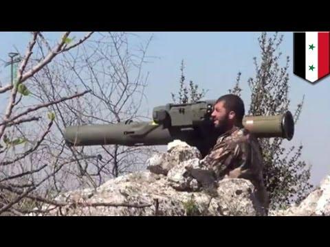 Syrian war rebels using BGM-71 TOW American anti-tank missile