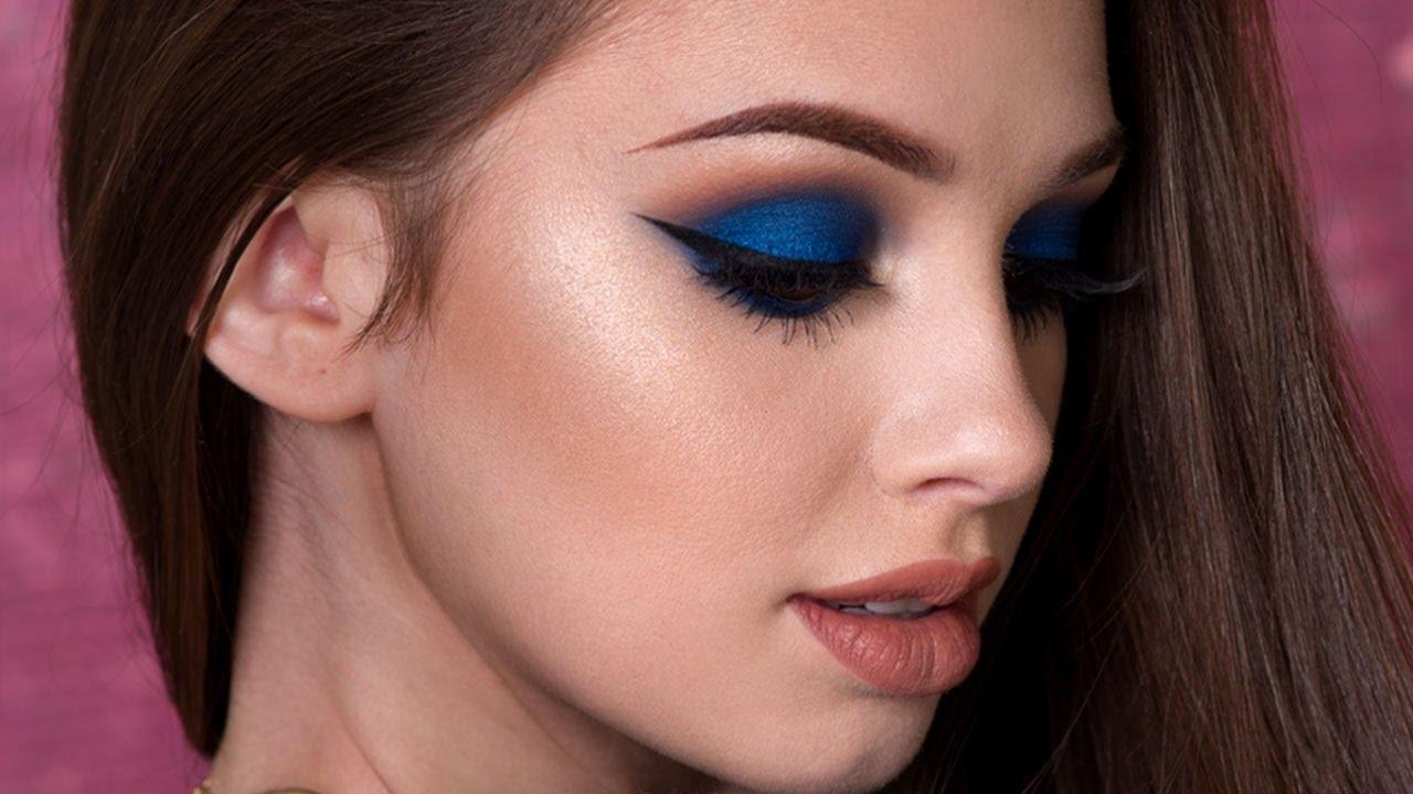 navy blue smokey eye makeup tutorial - youtube