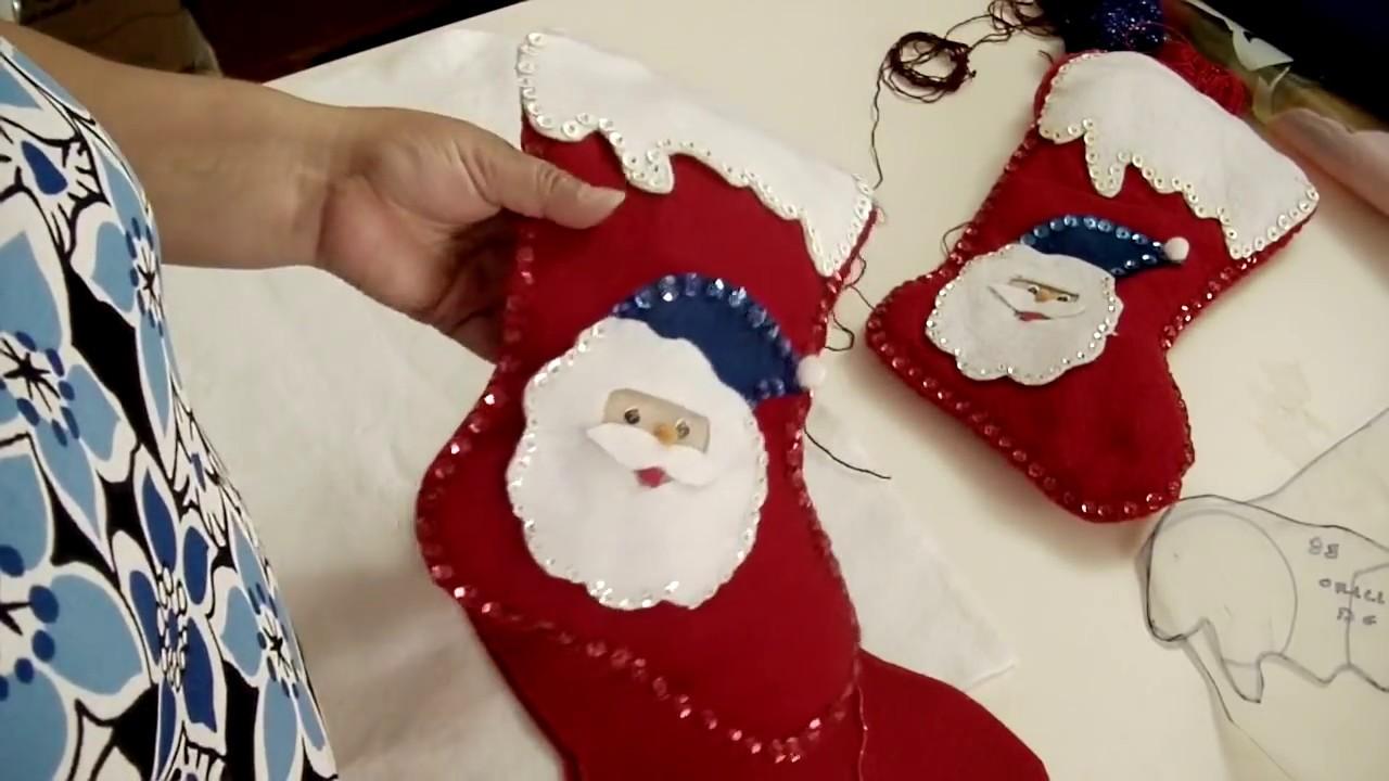 Como hacer bota navide a en fieltro parte 2 youtube - Manualidades en fieltro para navidad ...