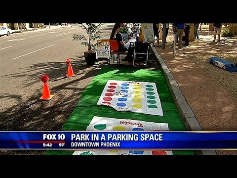 "6th annual ""Phoenix Parking Day"" took place in downtown"