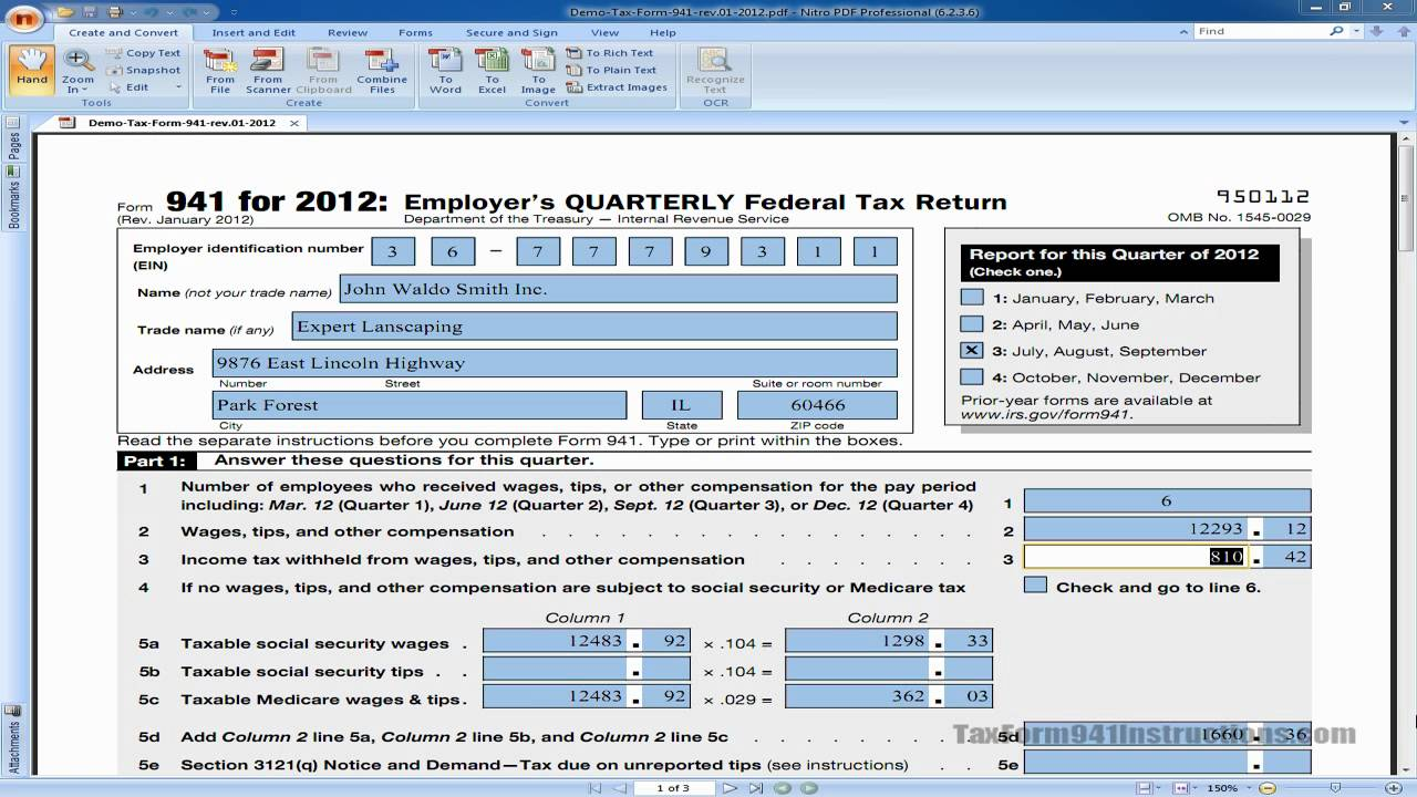 Tax Form 941 - Line 3 - Income Tax Withheld - Video - YouTube