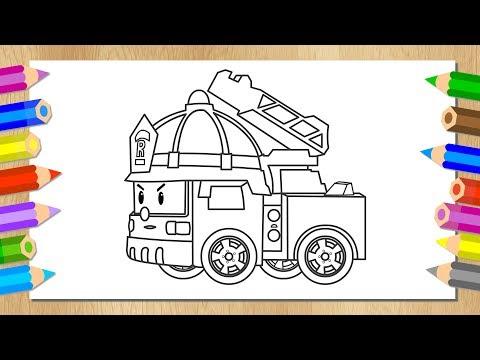 Робокар Поли - Рисуем Роботрак Рой - Раскраска - Учим цвета - Пожарная машина - Robocar Poli
