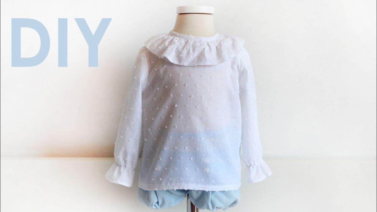 Blusa bebé con volante en escote. Como hacer una blusa para bebé ...