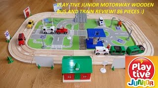 Play Tive junior Motorway in 86 Pieces LIDL Toy Review!Wooden Train and Bus toy review!