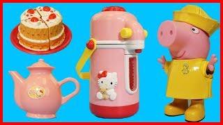 粉紅豬小妹佩佩豬的凱蒂貓 Hello Kitty 熱水壺和廚房玩具