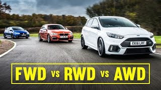 awd vs fwd vs rwd focus rs civic type r m140i track battle