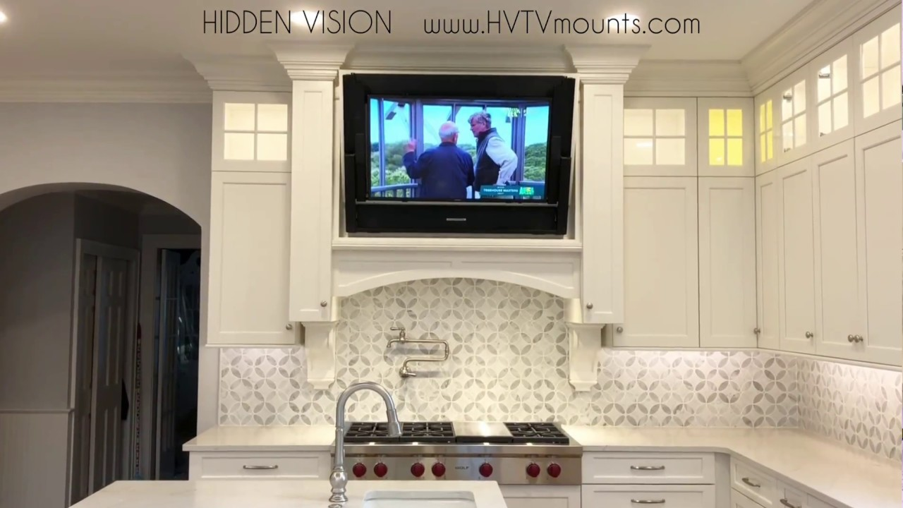 Build A Hidden Tv Into Kitchen Cabinets Youtube