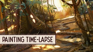 Wagadu Rainforest - digital painting time-lapse by IgsonArt - Iga Oliwiak