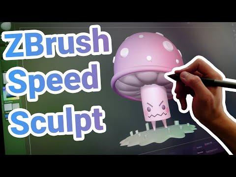 1 Hour ZBrush Speed Sculpt In 8 Minutes: RPG Monster Mushroom
