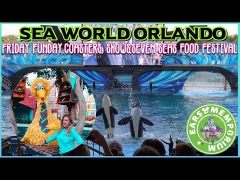 🔴 LIVE: Sea World Orlando Friday Funday! Coasters, Shows, Seven Seas Food Festival.