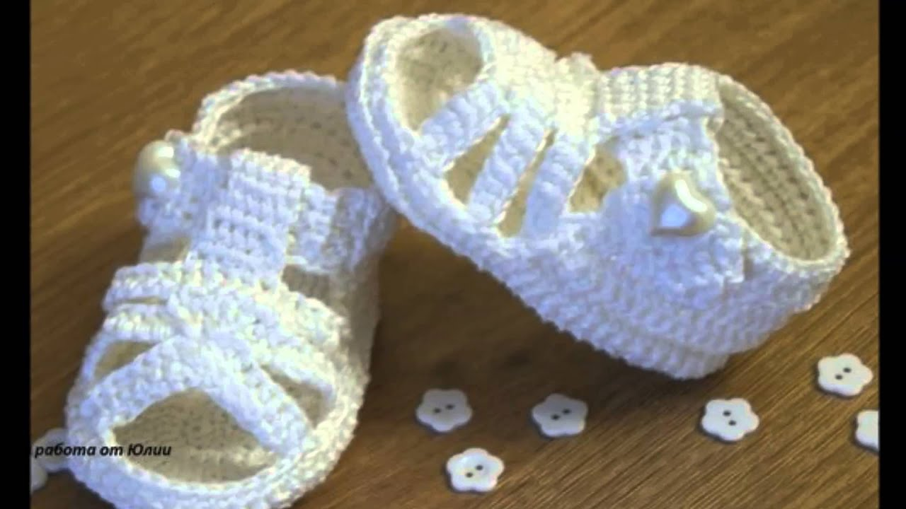 sandalias bebe a crochet - YouTube
