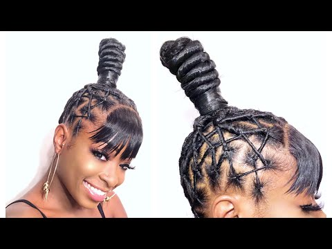 WHO SAID LACE CLOSURES ARE ONLY FOR SEWINS?! TOP KNOT PONYTAIL WITH BANG (NO LEAVE OUT)