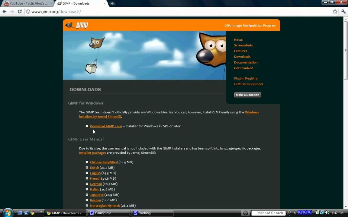 download gimp 2.6 for windows xp free