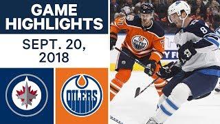 NHL Pre-season Highlights   Jets vs. Oilers - Sept. 20, 2018
