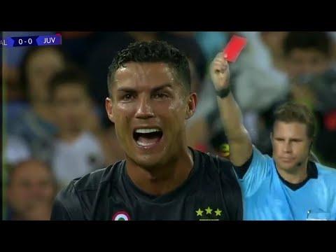 CRISTIANO RONALDO CARTELLINO ROSSO PIANGE - RED CARD Valencia vs Juventus 0-1 19/09/18
