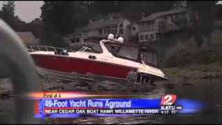 Luxury yacht runs aground on the Willamette River