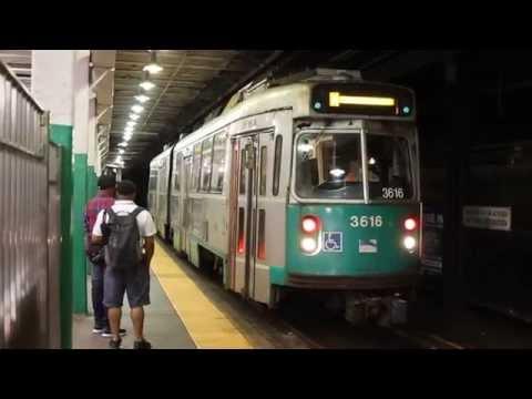MBTA Green Line Single Kinki-Sharyo Type-7 Streetcar leaves Boylston