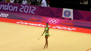 Russian rhythmic gymnast Daria Dmitrieva in the finals of the the London 2012 Olympics. (clubs)