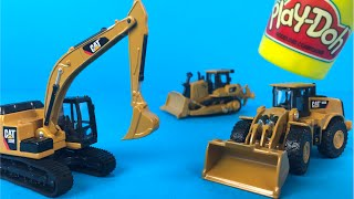 PlayDoh play with Mighty Machines CAT Metal Machines Die Cast Construction Toys Bulldozer Excavator