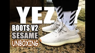 628be07c4 Adidas Yeezy Boost 350 V2 SESAME Unboxing (Review   On Feet)