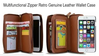 Multifunctional Zipper Retro Genuine Leather Wallet Case Cover For Various Phone