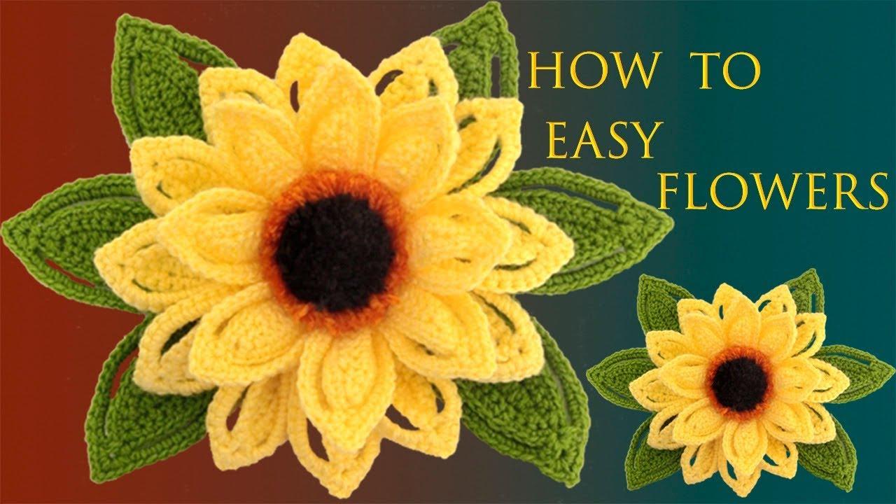 Como hacer Flores Fáciles Girasoles en 3D a Crochet con hojas tejido  tallermanualperu - YouTube