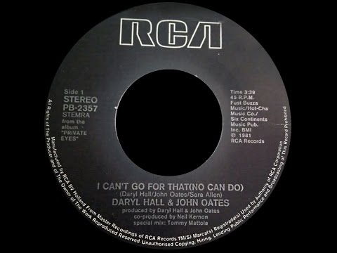 Daryl Hall & John Oates ~ I Cant Go For That No Can Do 1981 Disco Purrfection Version