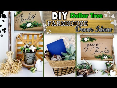 DOLLAR TREE DIY | Farmhouse Decor Ideas  | Neutral Fall Decor 2019