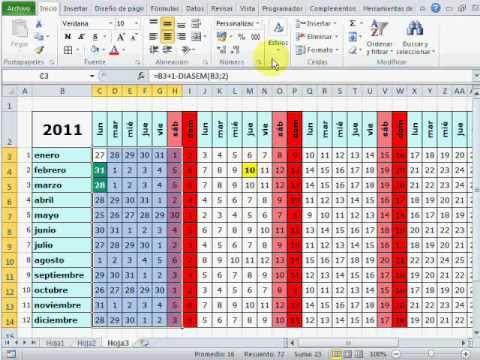 Cómo hacer un mini calendario con festivos en Excel - YouTube