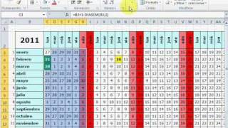 Cómo hacer un mini calendario con festivos en Excel