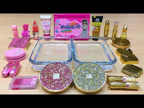 GOLD vs PINK ! Mixing Makeup Eyeshadow into Clear Slime ! Special Series #38 Satisfying Slime Video