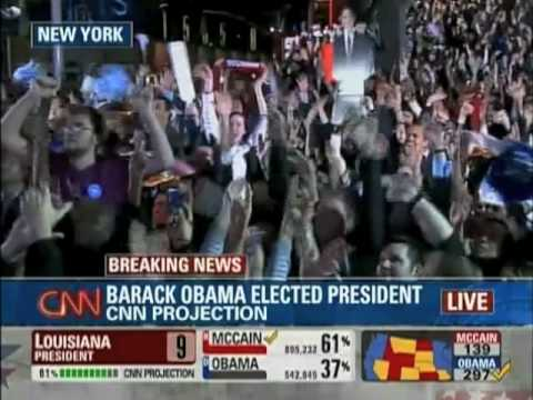 CNN Announces Obama as the Next President Elect (Obama Wins Virginia then the Election)