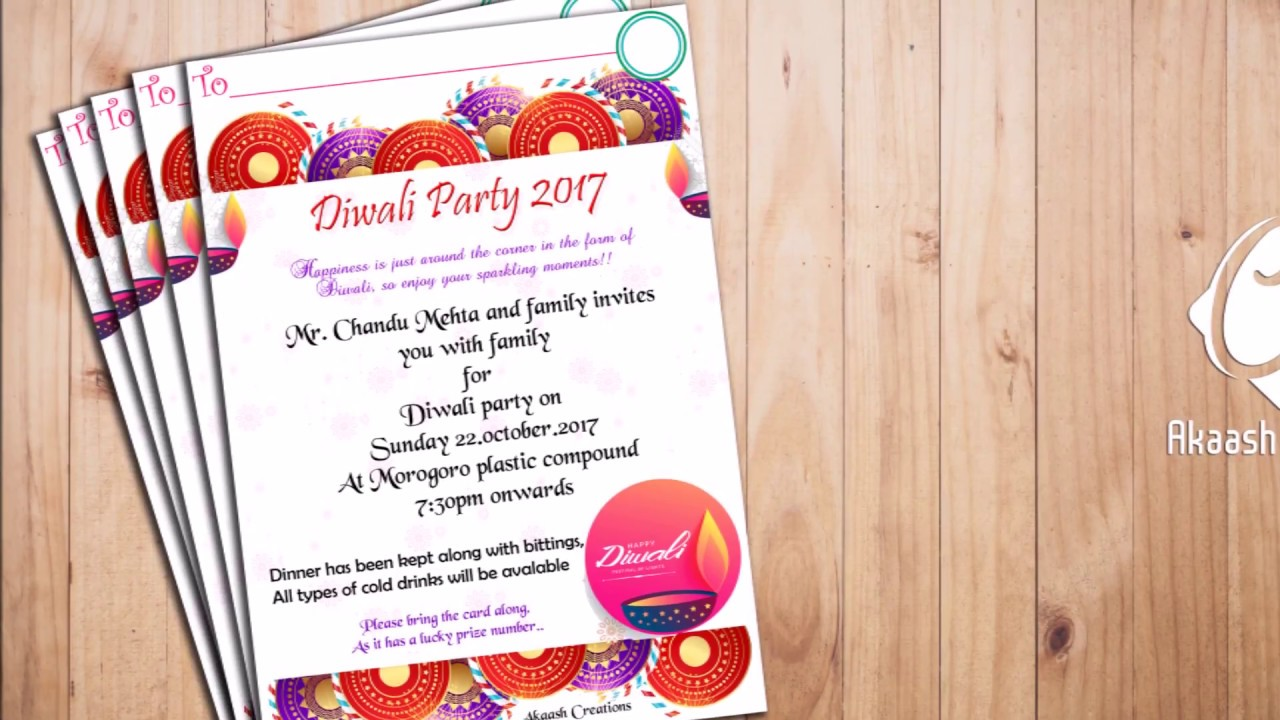 Designing diwali party 2017 invitation card youtube designing diwali party 2017 invitation card stopboris Choice Image
