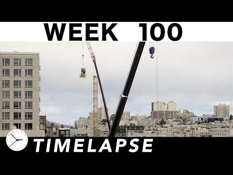 Construction time-lapse with 30 closeups Week 100: Curtain wall glass, tower crane rises, elevator