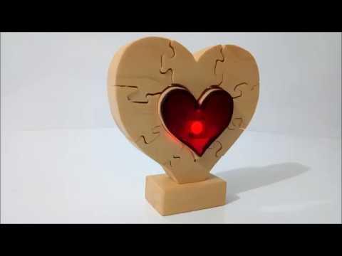 Kalp Şeklinde Işıklı Puzzle -  illuminated heart-shaped Puzzle