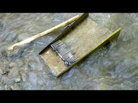 Золото и алмазы в горных ручьях. Поиск россыпного  золота Промывка на шлюзе