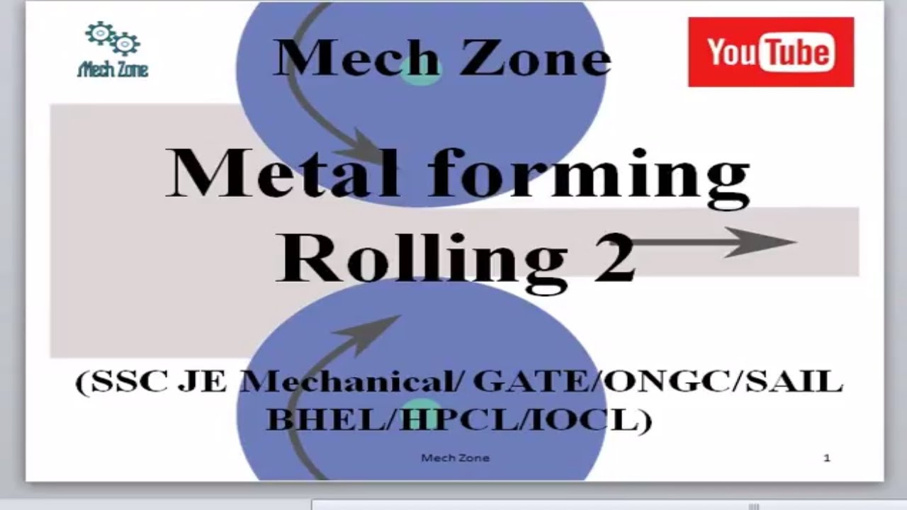 Manufacturing Lecture 5: Draft in rolling, nip or bite angle, elongation  factor