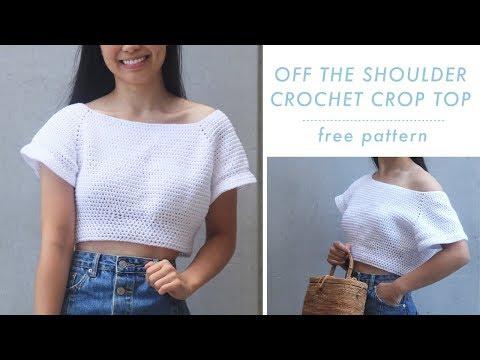 Off The Shoulder Crochet Crop Top Free Crochet Pattern Video