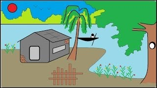 How to draw a scenery | How to draw house in an island | Easy drawing