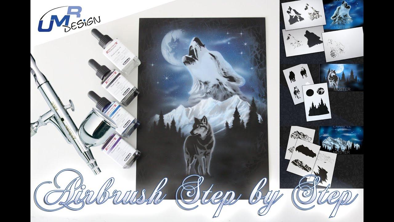 Step by Step Airbrush Stencil AS-025 ~ Stencils ~ UMR-Design