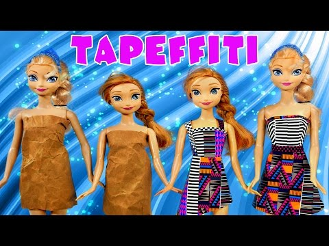 Tapeffiti Project Runway Disney Frozen Elsa Princess Anna Barbie Doll Dress Designer Muñeca Vestidos