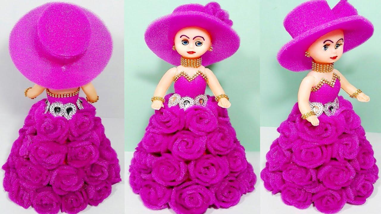 फोम के गुलाब से गुड़िया सजाने का तरीका /How to decorate doll with foam rose/rose doll/gulab ki gudiya