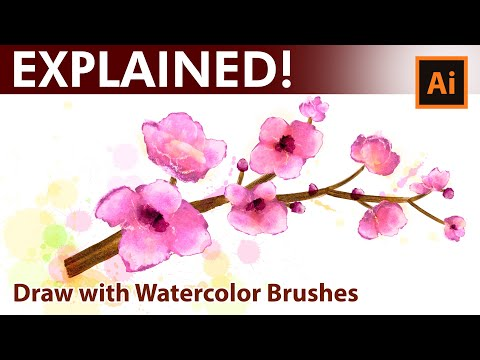 Adobe Illustrator -  Watercolor Drawing Tutorial - Pink Spring Flowers