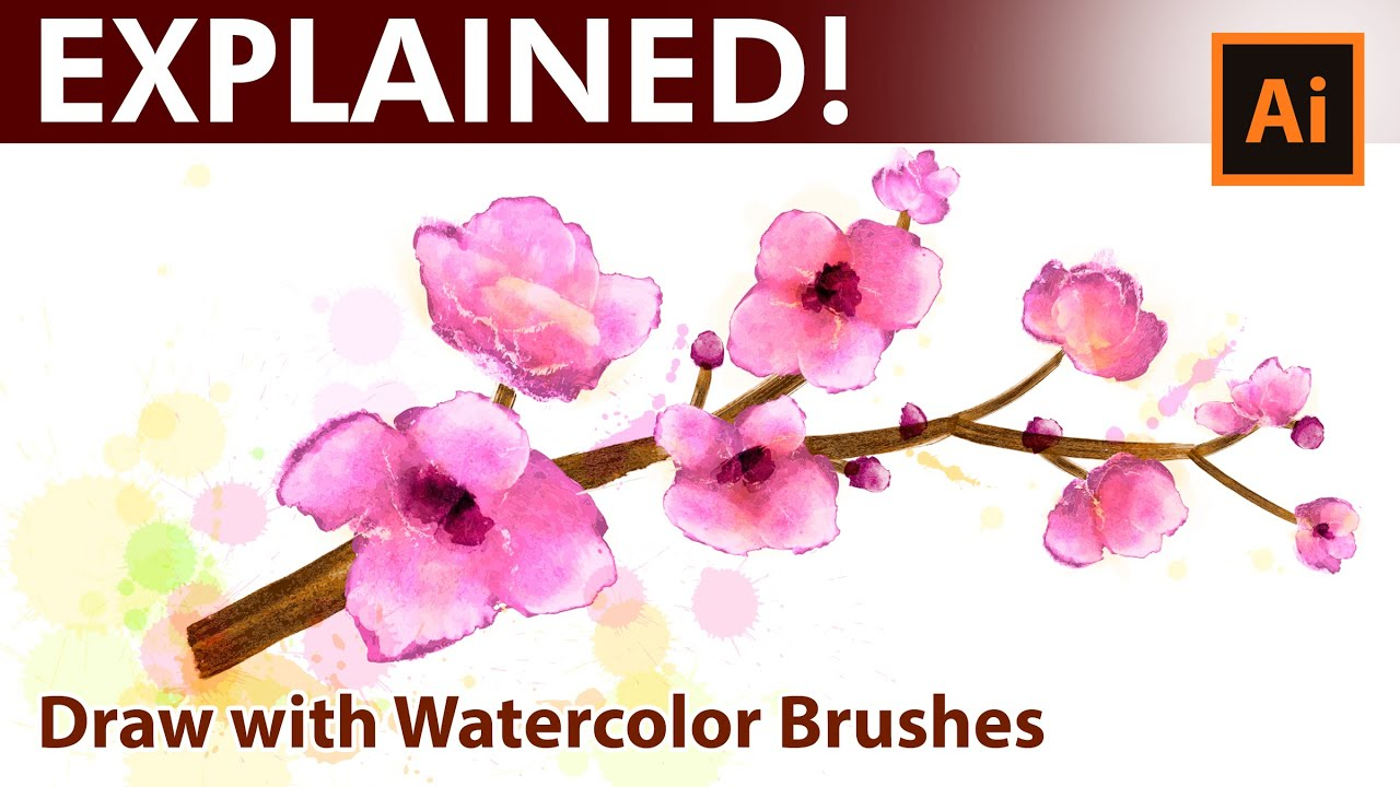Adobe Illustrator Watercolor Drawing Tutorial Pink Spring