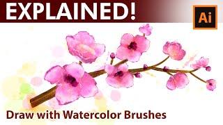 Adobe Illustrator -  Watercolor Drawing Tutorial - Pink Spring Flowers