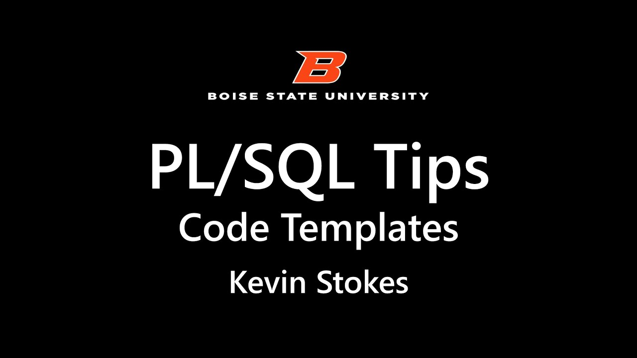 PL SQL Code Templates - YouTube