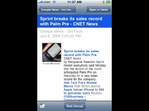Read free RSS feeds on your iPhone with NetNewsWire