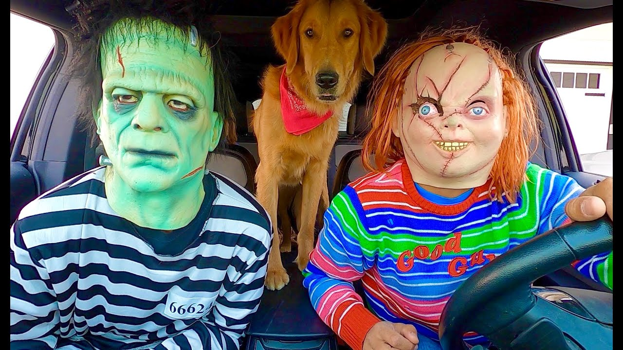 Chucky Surprises T-Rex & Puppies with Dancing Car Ride!