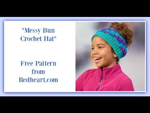 Messy Bun Crochet Hat Redheart Free Pattern Youtube