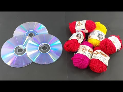 Best out of waste cd disc crafting | Recycling cd disc craft with Color woolen craft idea